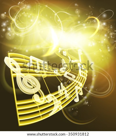 A music background featuring musical music notes woth a neon like glow in gold colors