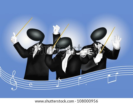 A music conductor in the act of conducting with Musical Notes and Sound Waves - stock photo