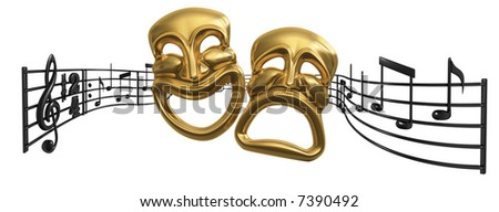 A musical score waving and bending behind iconic Comedy and Tragedy theatre masks - stock photo