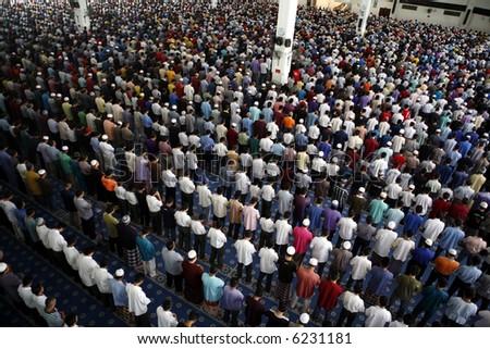 A Muslim Friday mass prayer. - stock photo