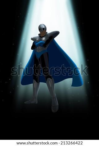 A mysterious superhero under the light - stock photo