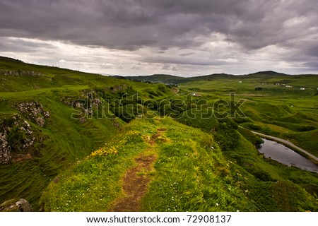 A mystic view from a lookout in the fairy land, isle of skye in Scotland - stock photo