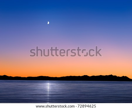 A Mythical Moonrise Over Mountains And Water As Sunset Gives Way To Twilight, Photo Composite - stock photo