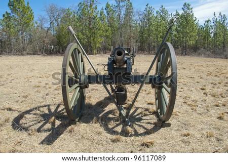 A Napoleonic style civil war cannon and caisson. - stock photo