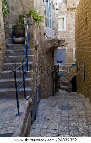 A narrow street in historic Jaffa , Israel - stock photo