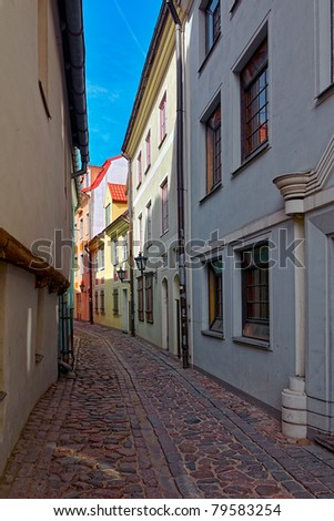 A narrow street in old town of Riga, Latvia