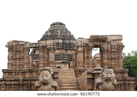 A Nata mandir view at the entrance of Sun Temple complex - stock photo