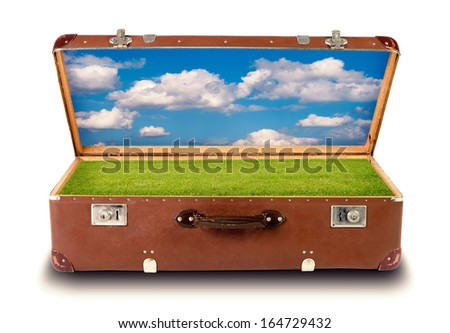 a natural landscape in an open suitcase isolated before white background - stock photo