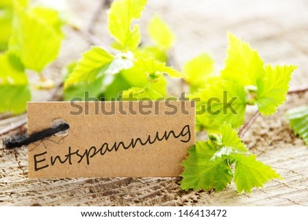 a natural looking label with green leaves and the german word Entspannung which means recreation and wood as background - stock photo