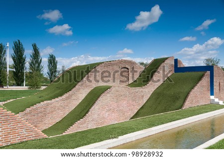 A natural slide made of grass