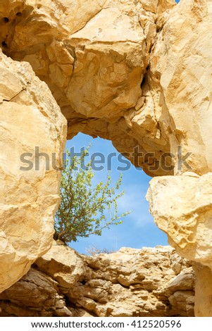 A natural window in a rock through which one can see the sky and the tree - stock photo