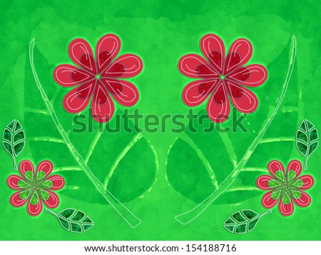 A nature illustration with flowers and leaves