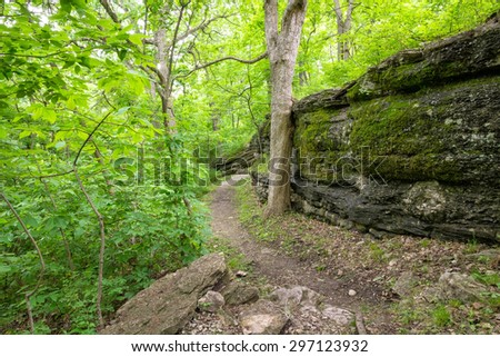 A nature trail along bluffs in western Missouri. - stock photo