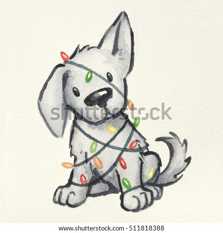 A Naughty Puppy Dog Wrapped In Christmas Tree Lights Cute Holiday Scene