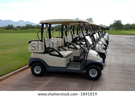 A neat row of golfcarts, Scottsdale, Arizona