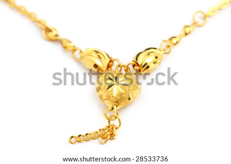 A necklace with love shape oxette isolated over white background.