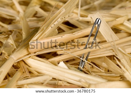 A needle is found in a haystack. - stock photo