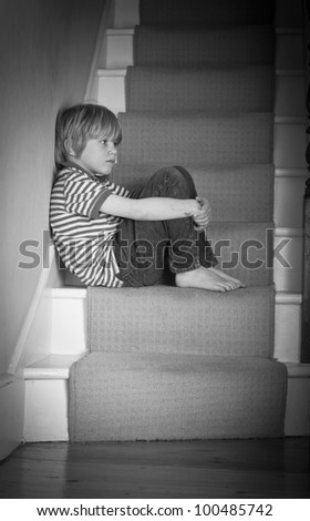 A neglected little boy - stock photo