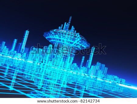 A neon grid effect backdrop with a futuristic like city - stock photo
