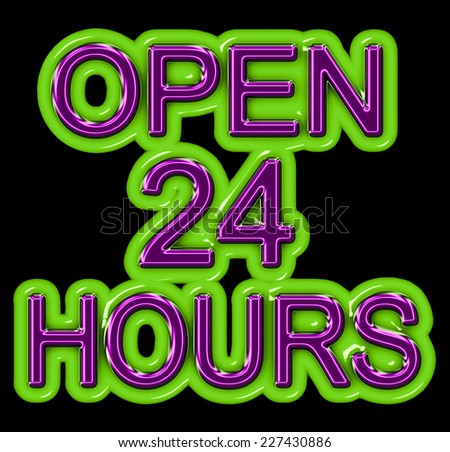 A neon OPEN 24 HOURS sign in purple and green isolated on black - stock photo