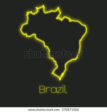 A Neon outline of Brazil - stock photo