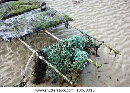 A net at the end of a oyster bed