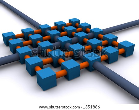 a network illustration with many connected nodes or units - stock photo
