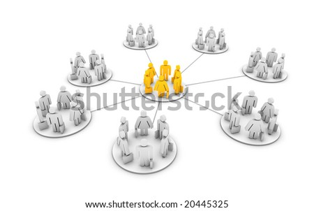 a network of grouped business pictograms - stock photo