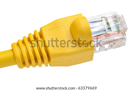 A network RJ45 connector isolated on a white background with clipping path - stock photo