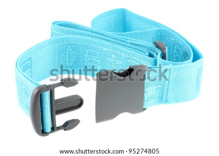 A new adjustable blue Travel Luggage Belt (Strap) with polypropylene buckle isolated on white - stock photo