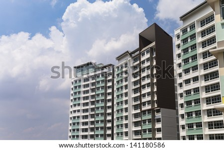 A new apartment building in residential settlement - stock photo
