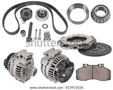 A new auto set of spare parts isolated on white - stock photo