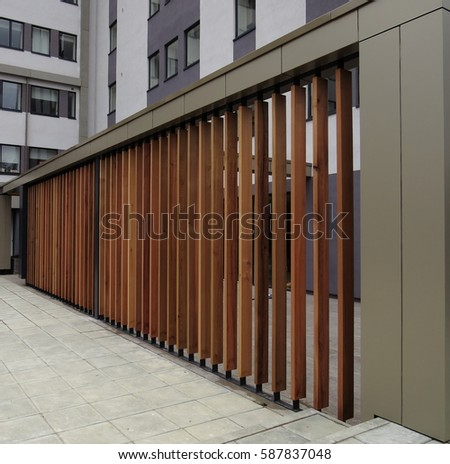 New Building Fence Barrier Obscure Exterior Stock Photo