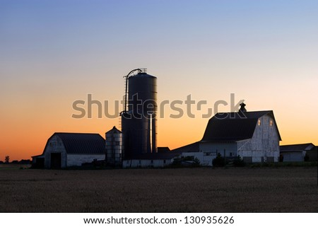 A New Day Dawns Over A Midwestern Farm, Ohio, USA - stock photo