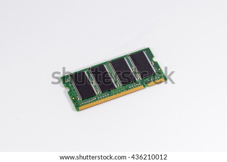 A new DDR/DDR2 SO-DIMM RAM, memory for using with old model notebook, laptop with IC chip attached to the green circuit board and golden contact to RAM slot, unit count in Gigabyte (GB) - stock photo