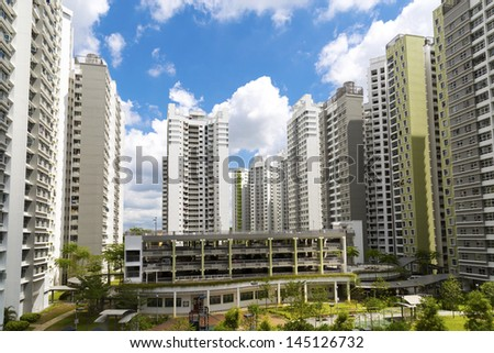 A new estate with neighborhood facities carpark at the center- Singapore - stock photo