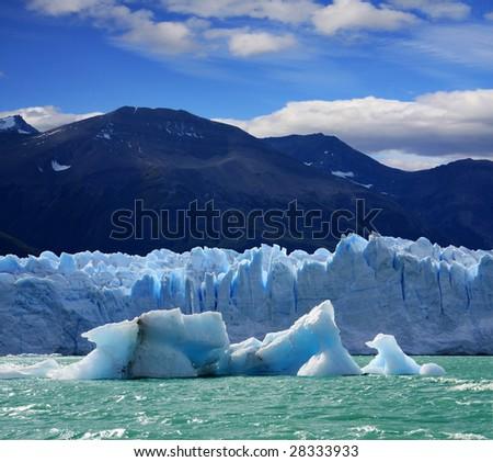A new Iceberg at Perito Moreno Glacier, Argentina lake - stock photo