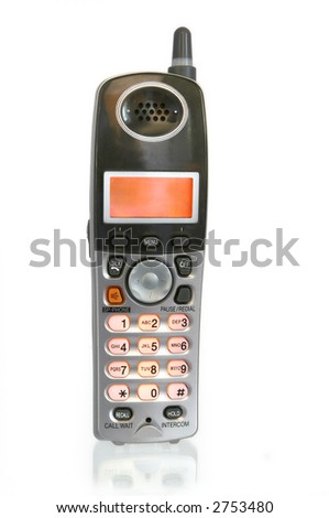 A new model cordless telephone, isolated on white.