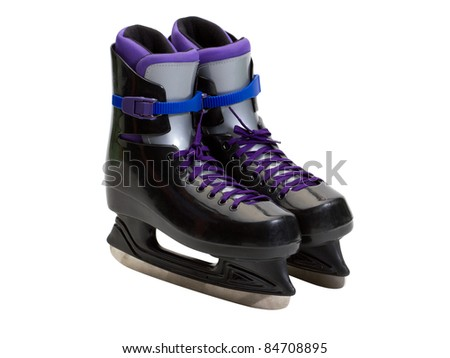 A new pair of ice skates - stock photo