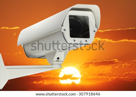 A new security Camera with sunset as background.