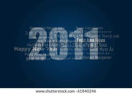 A new year card with best wishes in different languages - stock photo
