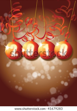 A New Year themed image on a portrait format with 2010 set in a set of orange baubles with paper style decorations.