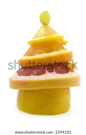 A New Year tree made of citrus fruits. - stock photo