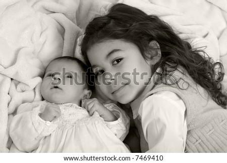 A newborn little girl. Family, love, caring. - stock photo