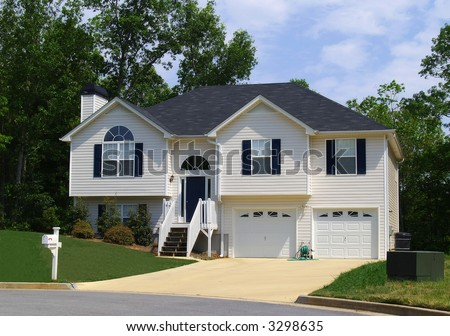 A newly constructed home in a suburban Atlanta development - stock photo