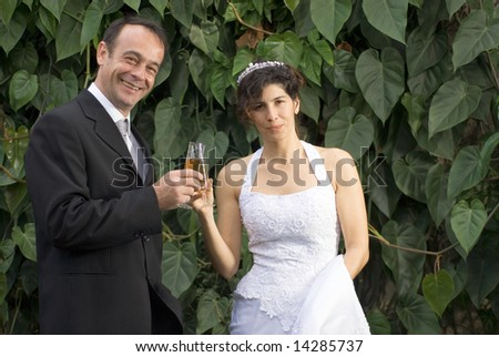 A newly married couple, toast while smiling for the camera. - horizontally framed - stock photo
