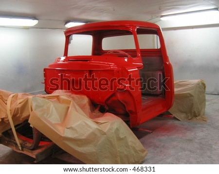 A newly repainted truck - stock photo