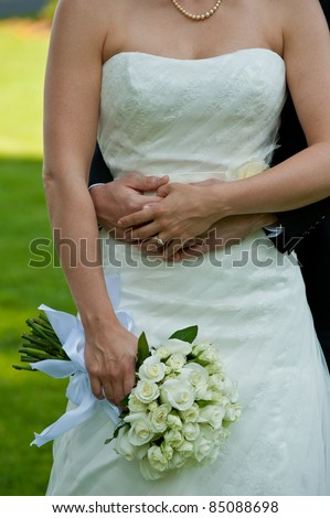 A newly wed couple - stock photo
