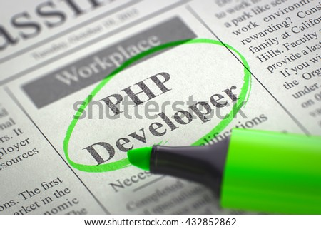 A Newspaper Column in the Classifieds with the Jobs of PHP Developer, Circled with a Green Marker. Blurred Image with Selective focus. Job Search Concept. 3D Render. - stock photo