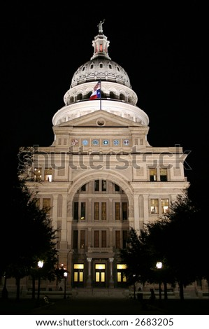 A nice clean shot of the Texas State Capitol Building in downtown Austin, Texas at night. - stock photo